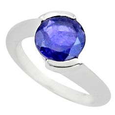 3.01cts natural blue iolite 925 sterling silver solitaire ring size 5.5 p73459