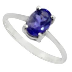 1.48cts natural blue iolite 925 sterling silver solitaire ring size 8.5 p82000