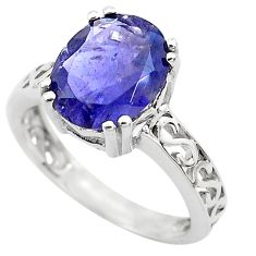 4.80cts natural blue iolite 925 sterling silver solitaire ring size 6 p82718