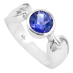 2.58cts natural blue iolite 925 sterling silver solitaire ring size 7.5 p82759