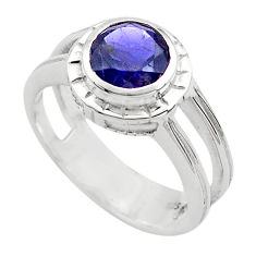 2.55cts natural blue iolite 925 sterling silver solitaire ring size 8.5 p82779