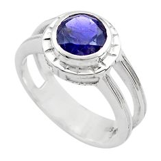 2.53cts natural blue iolite 925 sterling silver solitaire ring size 5.5 p82780