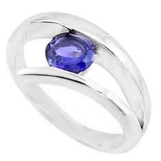 0.97cts natural blue iolite 925 sterling silver solitaire ring size 7.5 p82794