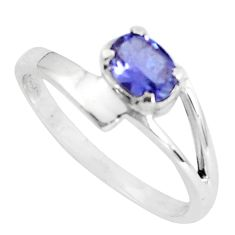 1.57cts natural blue iolite 925 sterling silver solitaire ring size 8.5 p83039