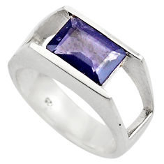 3.53cts natural blue iolite 925 sterling silver solitaire ring size 6.5 p83066