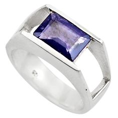 3.53cts natural blue iolite 925 sterling silver solitaire ring size 8.5 p83067