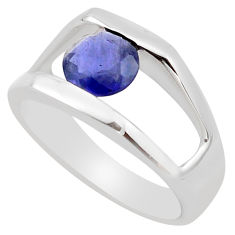 2.51cts natural blue iolite 925 sterling silver solitaire ring size 5.5 p83277