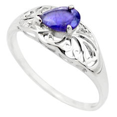 1.58cts natural blue iolite 925 sterling silver solitaire ring size 7 p83500