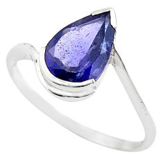 2.70cts natural blue iolite 925 sterling silver solitaire ring size 7.5 p83578