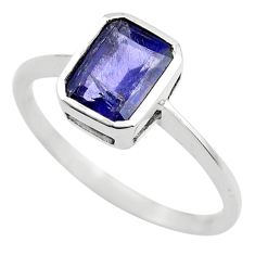 2.27cts natural blue iolite 925 sterling silver solitaire ring size 6.5 p83599