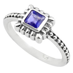 0.43cts natural blue iolite 925 sterling silver solitaire ring size 5.5 p83617