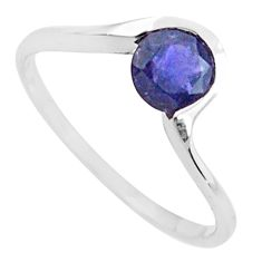 1.18cts natural blue iolite 925 sterling silver solitaire ring size 6 p83675