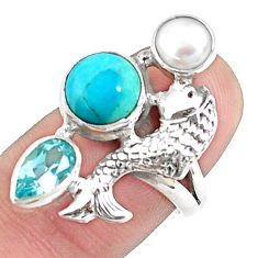 7.07cts natural blue kingman turquoise 925 silver fish ring size 6.5 p42867
