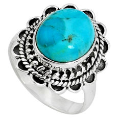 5.31cts natural blue kingman turquoise 925 silver solitaire ring size 7.5 p33096
