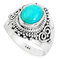 3.36cts natural blue kingman turquoise 925 silver solitaire ring size 7.5 p40326