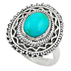 4.07cts natural blue kingman turquoise 925 silver solitaire ring size 8 p61562