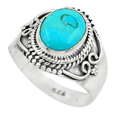 4.21cts natural blue kingman turquoise 925 silver solitaire ring size 7.5 p61570