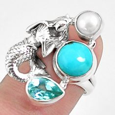 7.23cts natural blue kingman turquoise silver fairy mermaid ring size 6 p42878