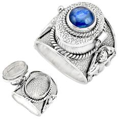 3.38cts natural blue kyanite 925 sterling silver poison box ring size 8 p75568