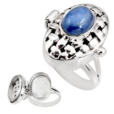 4.25cts natural blue kyanite 925 sterling silver poison box ring size 8 p92852