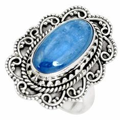 7.02cts natural blue kyanite 925 sterling silver solitaire ring size 7 p32785