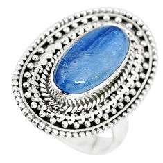 7.10cts natural blue kyanite 925 sterling silver solitaire ring size 8.5 p32787
