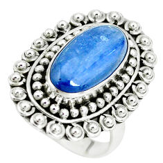 6.72cts natural blue kyanite 925 sterling silver solitaire ring size 8 p32788
