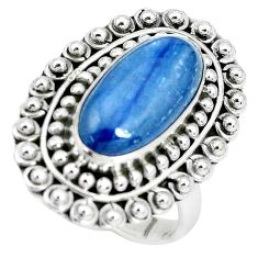 6.87cts natural blue kyanite 925 sterling silver solitaire ring size 8 p32797