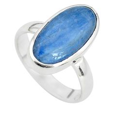 6.70cts natural blue kyanite 925 sterling silver solitaire ring size 6.5 p33022