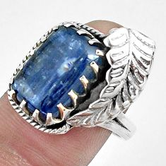 6.80cts natural blue kyanite 925 sterling silver solitaire ring size 7.5 p42266