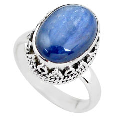 6.54cts natural blue kyanite 925 sterling silver solitaire ring size 8 p56506