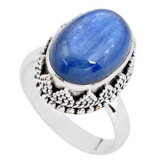 7.10cts natural blue kyanite 925 sterling silver solitaire ring size 7.5 p56510
