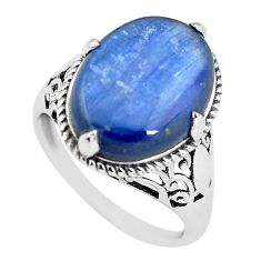 9.28cts natural blue kyanite 925 sterling silver solitaire ring size 8 p56993