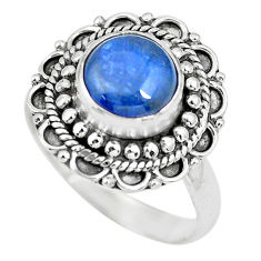 3.23cts natural blue kyanite 925 sterling silver solitaire ring size 8 p63101