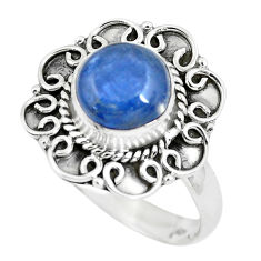 3.01cts natural blue kyanite 925 sterling silver solitaire ring size 7.5 p63102