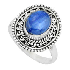 4.53cts natural blue kyanite 925 sterling silver solitaire ring size 8 p63111
