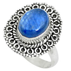 4.37cts natural blue kyanite 925 sterling silver solitaire ring size 7 p63115
