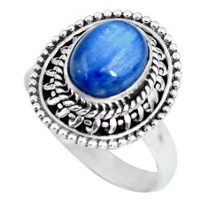3.19cts natural blue kyanite 925 sterling silver solitaire ring size 7 p63173