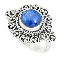 3.28cts natural blue kyanite 925 sterling silver solitaire ring size 7 p63361