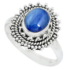 2.97cts natural blue kyanite 925 sterling silver solitaire ring size 9 p63363