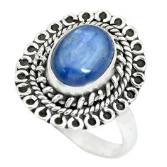 3.19cts natural blue kyanite 925 sterling silver solitaire ring size 7 p63367