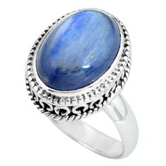 6.62cts natural blue kyanite 925 sterling silver solitaire ring size 7 p67503