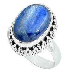 6.89cts natural blue kyanite 925 sterling silver solitaire ring size 7 p67635