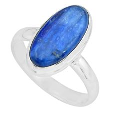 6.03cts natural blue kyanite 925 sterling silver solitaire ring size 8.5 p68165