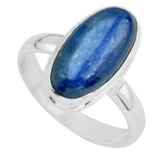 6.03cts natural blue kyanite 925 sterling silver solitaire ring size 8.5 p68178
