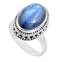 6.62cts natural blue kyanite 925 sterling silver solitaire ring size 7 p71491