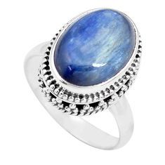 6.89cts natural blue kyanite 925 sterling silver solitaire ring size 7.5 p71493