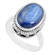 7.07cts natural blue kyanite 925 sterling silver solitaire ring size 7.5 p71496
