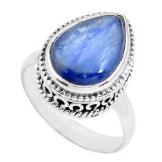 6.80cts natural blue kyanite 925 sterling silver solitaire ring size 7.5 p71498
