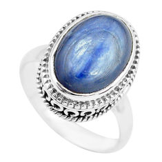 7.07cts natural blue kyanite 925 sterling silver solitaire ring size 7 p71499
